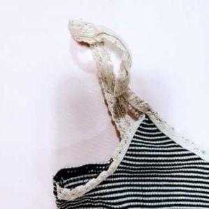 Tops - Stripped Crochet Strap Tank